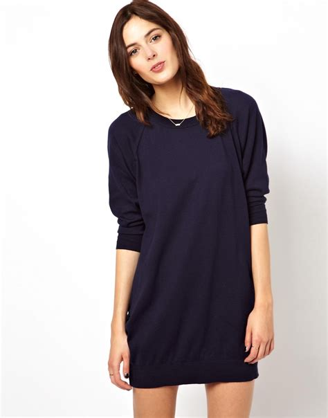 navy sweater dress asos oversize sweater dress with raglan sleeve in blue lyst
