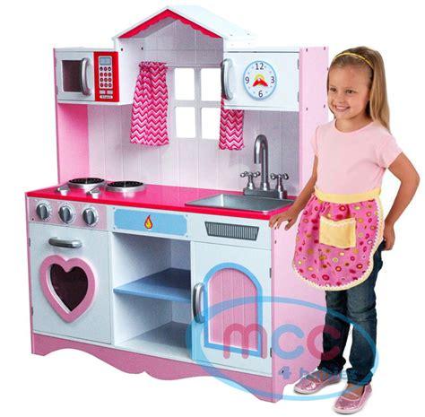 Large Girls Kids Pink Wooden Play Kitchen Children's Role