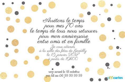 Invitation Anniversaire 70 Ans Avec Des Ronds Dorés