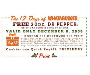 32433 Whataburger Printable Coupons by Whataburger Coupon For A Free Drink December 8th Only