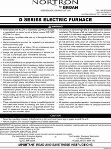 Broan Furnace 30042432a Users Manual D Series Nortron