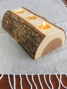 Wooden Log Candle Holders