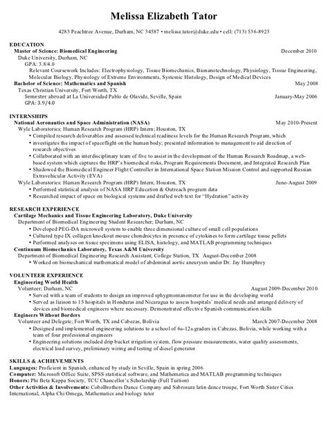 Masters Resume Format by Master S Resume Engineering Research