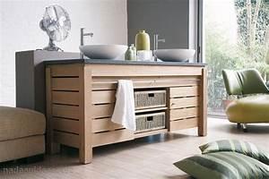 meuble salle de bain couleur bois naturel peinture With meuble bois salle bain