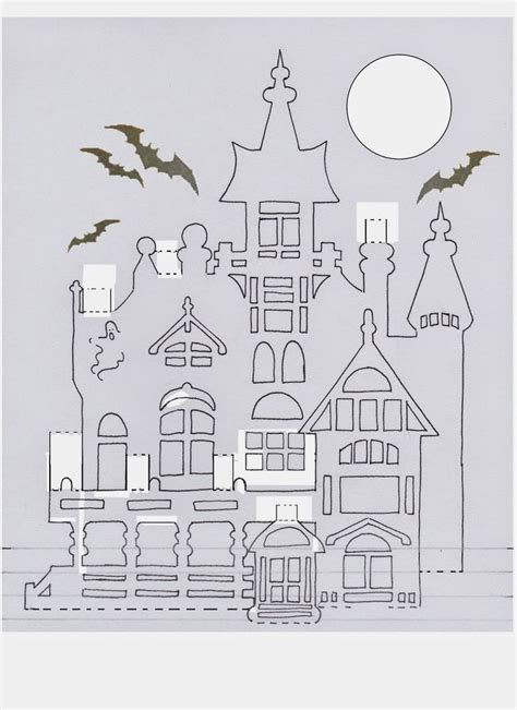 lauras frayed knot haunted house pop  papercrafts