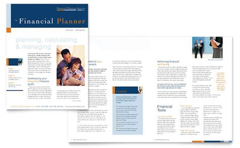 financial planning consulting newsletter template design