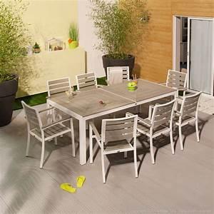 Bricorama Salon De Jardin : salon de jardin 8 places alu bois composite brooklyn ~ Dailycaller-alerts.com Idées de Décoration
