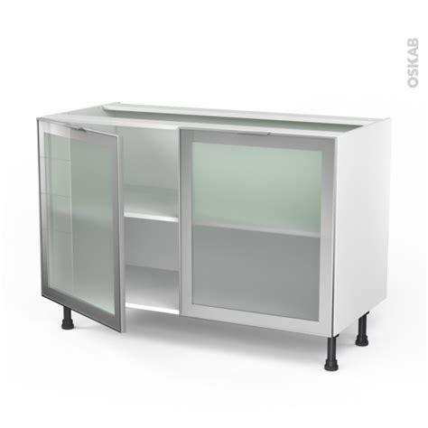 meuble cuisine vitré meuble de cuisine bas vitré façade alu 2 portes l120 x h70