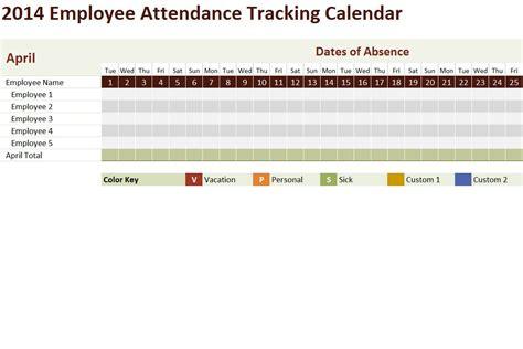 employee attendance tracking calendar