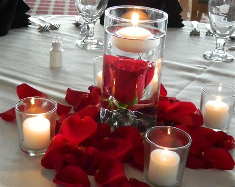 Red Submerged Centerpieces The Centerpieces Consisted Of