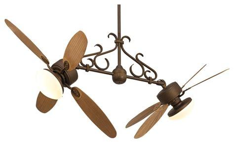 double head ceiling fan with light country cottage casa nova rattan dual head 2 light