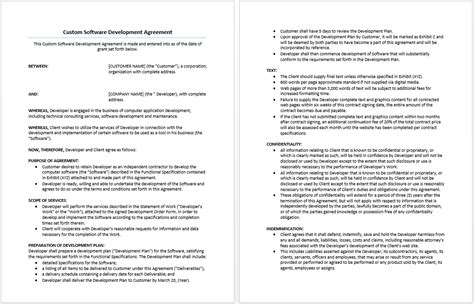 custom software development agreement template microsoft