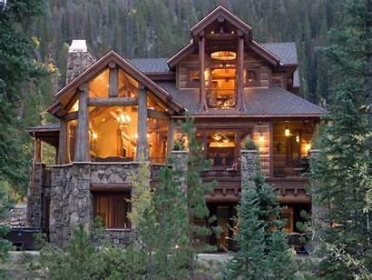 Homes Cabin Log Mountains Lodge Treesranch