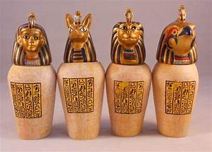 EGYPTIAN CANOPIC JARS, Set of 4 Resin Decorative