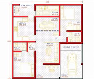 2 BHK Single Floor Low Budget Home Design At 1000 Sq Ft