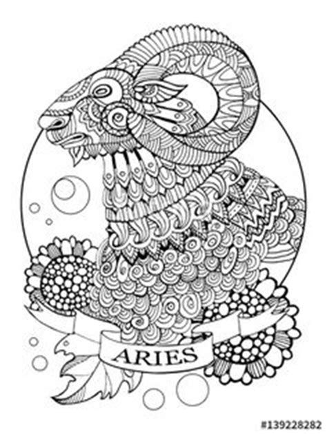 Leo zodiac sign coloring page for adults | Fotolia