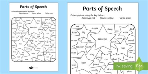parts of speech colouring activity english literacy colour