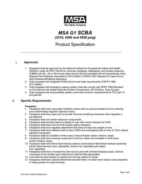 MSA G1 SCBA - AJ Stone Company