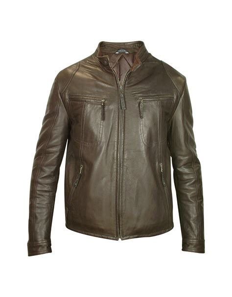 genuine leather motorcycle jacket forzieri mens dark brown genuine leather motorcycle jacket