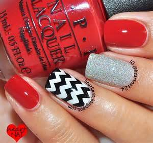 Red black and white nail designs pictures to pin on