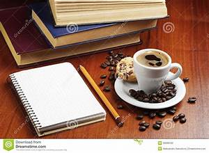 Cup Of Coffee, Notepad And Books Stock Photography Image: 35099192