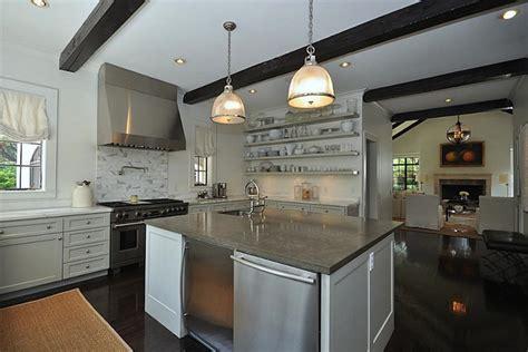 mini fridge  kitchen island transitional kitchen har