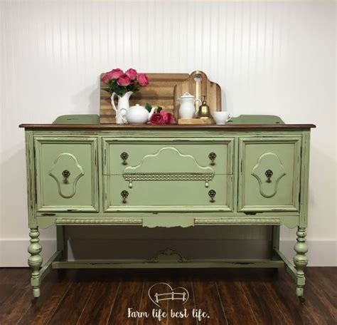 sage green buffet country chic paint guest post