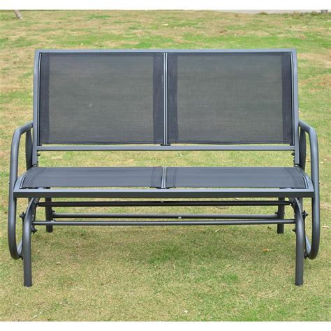 outdoor glider bench outsunny 48 quot outdoor patio swing glider bench chair black