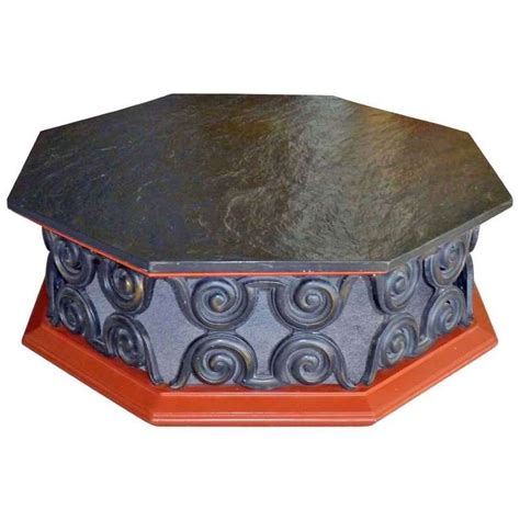 octagonal coffee table with slate stone top for sale at