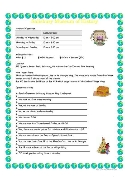 Museum Info Dialogue Worksheet  Free Esl Printable Worksheets Made By Teachers