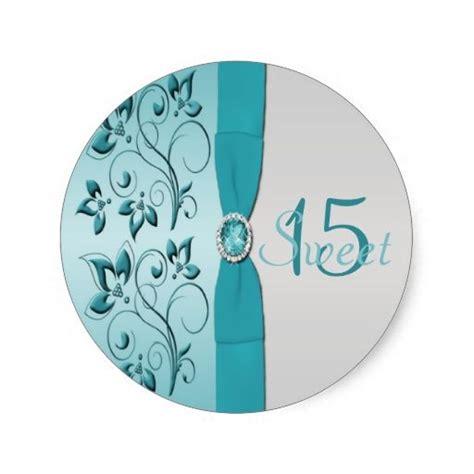 aqua and silver floral quinceanera sticker zazzle