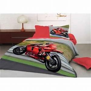 Housse de couette imprimee avec photo de moto pour les for Stickers chambre enfant avec housse de couette moto cross 2 personnes