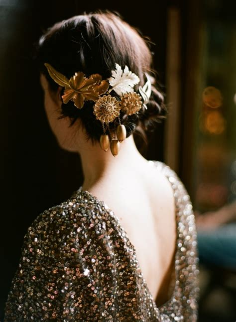 diy gold wedding hair accessories once wed - Diy Hair Accessories For Wedding