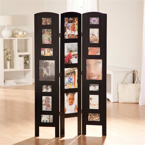 Memories Photo Frame Room Divider  Black 3 Panel Room