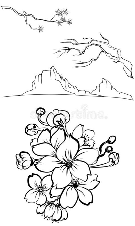 Peony Flower And Rose Tattoo On Cloud And Wave Background