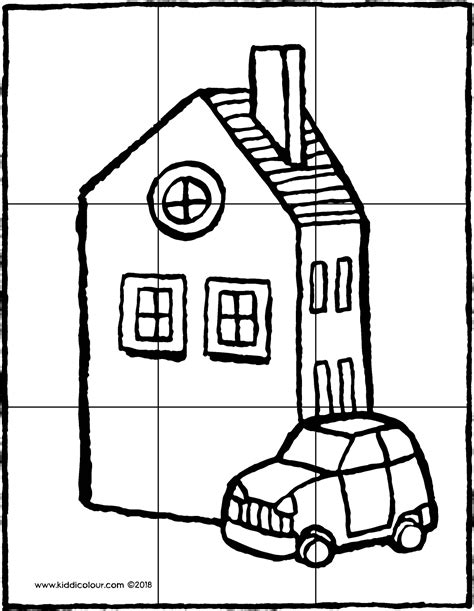Kleurplaat Huis Met Klimop puzzel huis met een auto kiddicolour