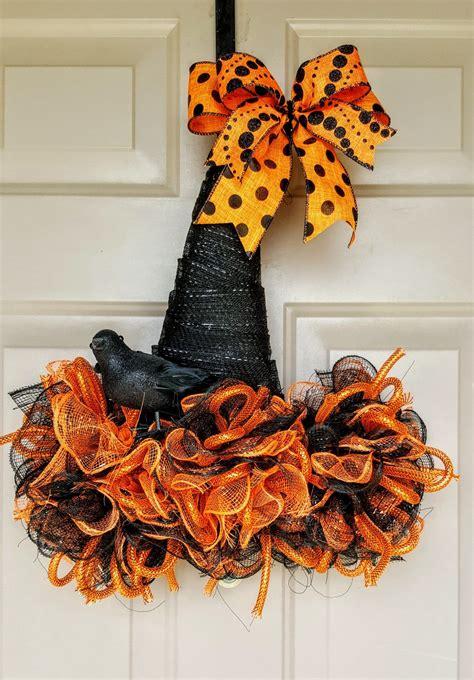 witch hat wreath mesh wreath orange halloween decor