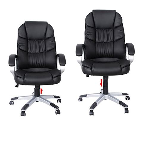 songmics black pu high back office executive swivel
