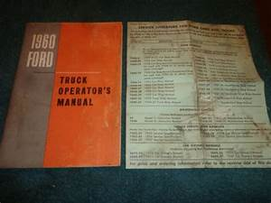 1960 Ford Truck Owner U0026 39 S Manual Good Original Guide Book