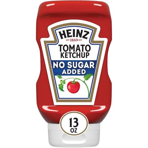 Heinz Tomato Ketchup with No Sugar Added, 13 oz Bottle ...