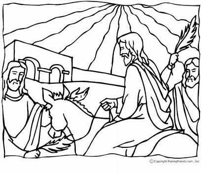 Coloring Palm Sunday Religious Pages Jesus Crafts