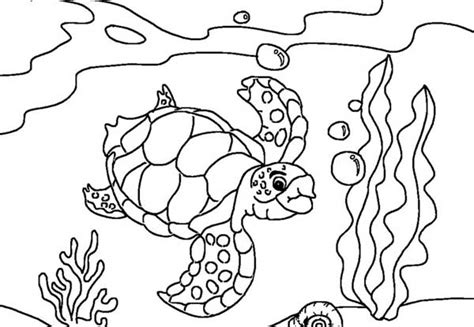 Sea Turtle Diving Coloring Page