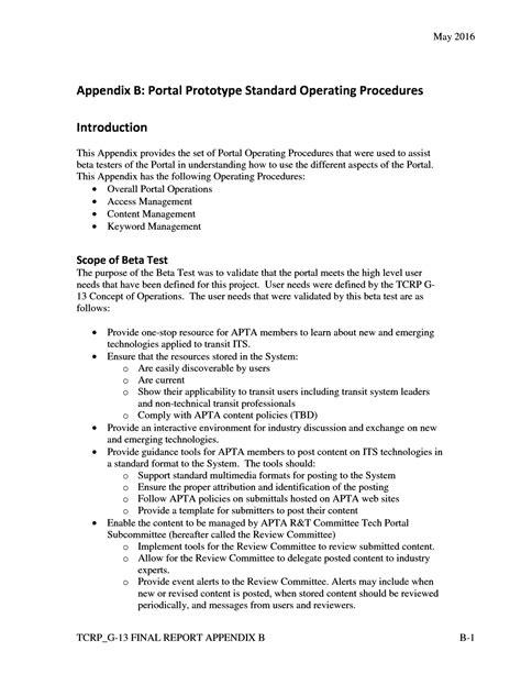 Appendix B: Portal Prototype Standard Operating Procedures