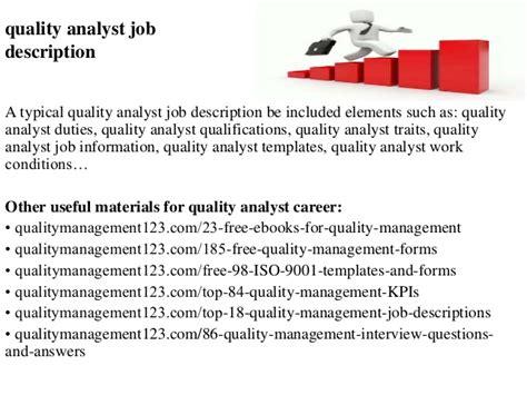 quality analyst job description