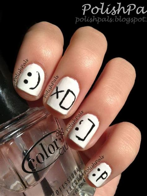 cute  happy smiley face nails hative