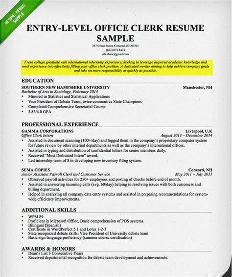 college resume objective berathen