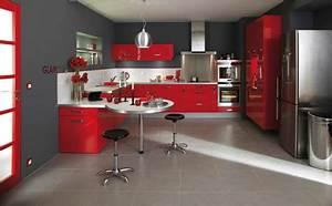 arthur bonnet salle de bain - cuisine rouge avec plan de travail blanc