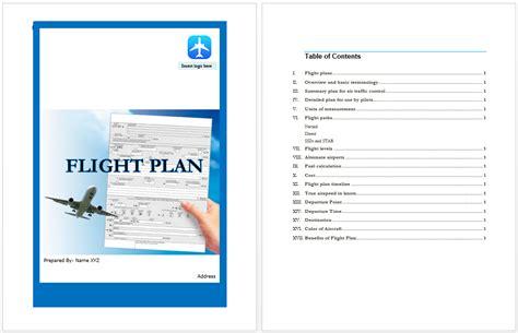 flight plan template microsoft word templates