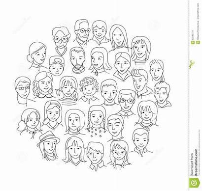 Diversity Concept Round Sketch Vector