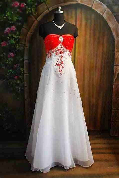 fashion club strapless red  white wedding dresses